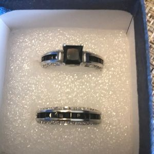 Black Spinel Wedding Ring Set Size 7 3/4